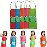 Leayao Childrens Kids Cooking Aprons PVC for Baking Painting Boys Girls Toddler, Kids Childrens Toddler Painting Aprons Age 2-7, Apron Kids Boys Waterproof Paint Painting Coocking PVC, Paint Aprons for Children Age 2-6 (Blue)