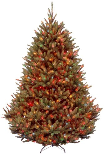 National Tree 7.5 Foot Natural Fraser Fir Tree with 1000 Multicolor Lights, Hinged (NAFFMH1-75RLOS1) ()