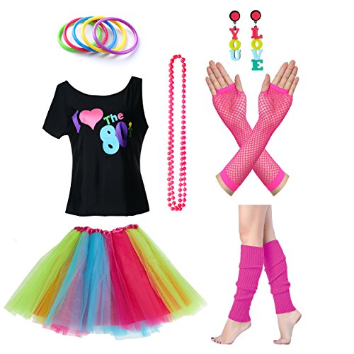 Women's I Love The 80's T-Shirt with Accessories Costume Set - many colors - S to XXL