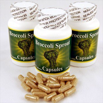 3 Bottles of Broccoli Sprout Capsules w/ Sulforaphane - Premium Brocolli Sprouts Herbal Supplements - 250 Mg. 30 Count Per Bottle