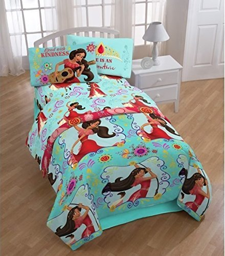 4pc Girls Disney Elena Avalor Flower Power Themed Comforter Twin Set, Cute Animated Character, Pretty Character Bedding, Flower Design Pattern, Black Blue Brown