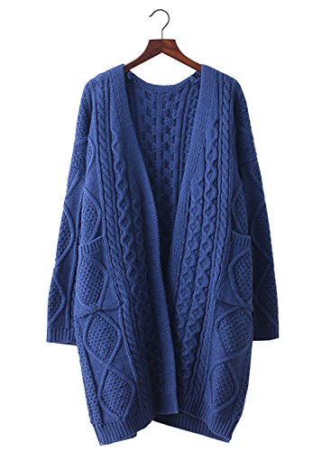Futurino Women's Loose Open Front Cable Knitted Cardigan Sweater With Pockets