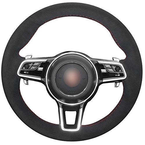 - MEWANT Black Suede Custom Car Steering Wheel Covers for Porsche Macan Cayenne 2015 2016