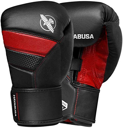 Hayabusa T3 Boxing Gloves | Men and Women | Black/Red |16oz | Bag ()