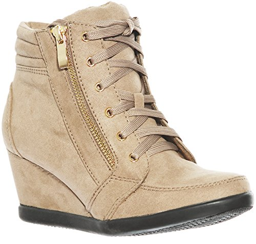 up Lace Wedge Pl Women's Fashion Hi Taupe56 Top shoewhatever Sneakers xwpFaPUqv