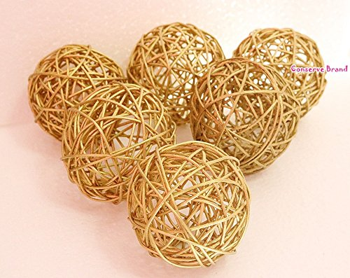 Medium Christmas Balls (Christmas Gift : Golden Medium Rattan Ball, Wicker Balls, DIY Vase And Bowl Filler Ornament, Decorative spheres balls, Perfect For Decoration And Party 3-3.5 inch, 6 Pcs (Free Gift From Conserve))