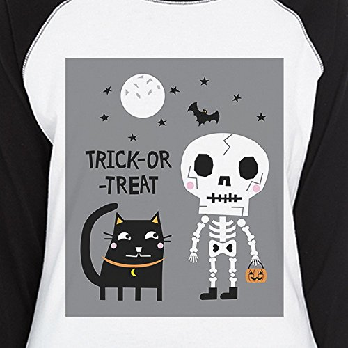 manga de pieza treat 365 de Trick Printing para de Camiseta gato Esqueleto mujer or negro una de corta q46ftA60
