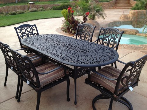 Tropitone Aluminum Oval Table - Heritage Outdoor Living Flamingo Cast Aluminum 7pc Outdoor Patio Set with 42