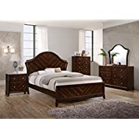 Kings Brand Furniture Wenge Mahogany Finish Wood King Size Bedroom Set. Bed, Dresser, Mirror, Chest & 2 Night Stands