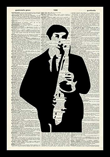 SAXOPHONE PLAYER ART PRINT-MUSIC ART PRINT-SILHOUETTE ART PRINT-Vintage Art Print-Illustration-Picture-Vintage Dictionary Art Print-Wall Hanging-Home D&eacutecor-Book Print-Wall Art A4 12x8 ()