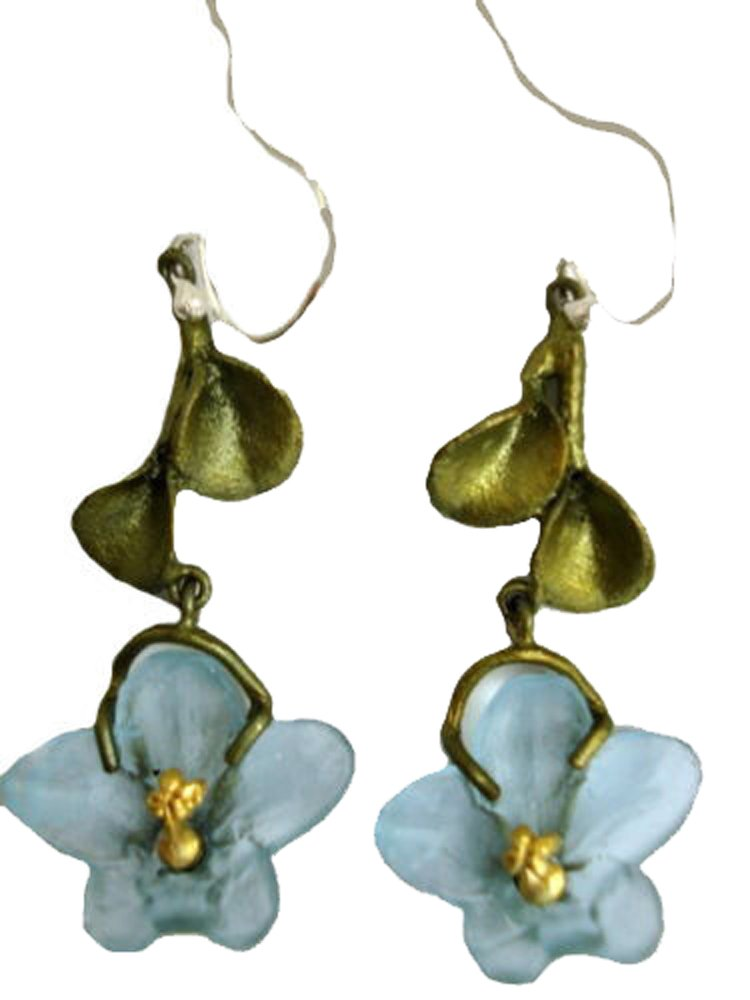 ''African Violet'' Hanging Wire Earrings by Michael Michaud for Silver Seasons by Michael Michaud