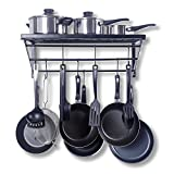 ZPOKA Kitchen Pan Rack,Cooker Shelf,with 10 S-Shape Hooks,Black, Metal 602130cm