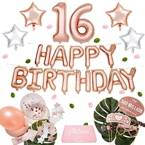 Sweet 16 Parties (Sweet 16 Party Supplies WITH Photo Booth Backdrop and Props -Rose Gold Sweet 16 Decorations - 16th Birthday Party Supplies WITH Happy Birthday Banner, 16, Confetti and Mylar Balloons|Sweet)