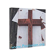 Man's Super Heavy Burden Wooden Cross Necklace Poster Stretch Canvas Abstract Art On Canvas