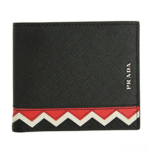 Prada Mens Black Saffiano Greche Leather Bi-fold Wallet 2m0513 Nero