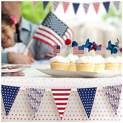 Independence Day USA Flag Banners - American Flag Inspired - Stars & Stripes Design - Fabric Material - Digital Printing - Red, White & Blue Colors - Make Fourth of July Celebration More Festive (Polyester Shape Decal)