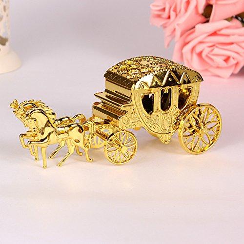 e59067e2921e Caiyuangg 2PCS Romantic Wedding Candy Boxes Cinderella Carriage Candy Bags  Wedding Holder Favor (Gold)