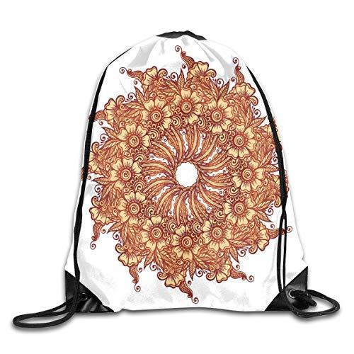 2019 Funny Drawstring Backpacks Bags Daypacks,Eastern Civilization Inspired Floral Tattoo Design Mehndi Motif Illustration,Adjustable For Sport Gym Traveling