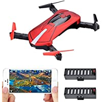 Contixo F8 Foldable Pocket Size Selfie Drone Voice Controls 720P HD Wifi Live FPV Video Camera 360 Stunts 8-10min Fly Time Gravity Control 2 Batteries - Best Gift