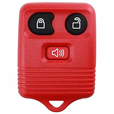 KeylessOption Red Replacement 3 Button Keyless Entry Remote Control Key Fob Clicker: Automotive