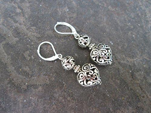 Silver Filigree Heart Earrings with Sterling Silver Leverback earwires