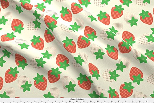 Shortcake Fabric Cream Berry Fields by Hugandkiss Printed on Satin Fabric by the Yard by Spoonflower (Shorts Strawberry Satin Shortcake)