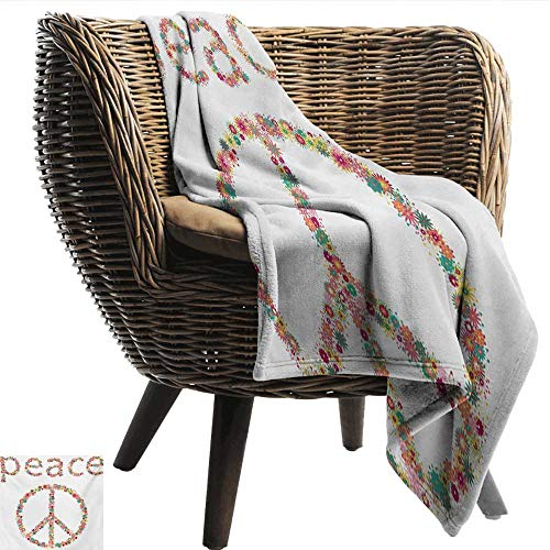 EwaskyOnline Groovy Nap Blanket Sign of Pacifism with Wildflowers in Summertime Activities Artistic Design Print car/Airplane Travel Throw 91