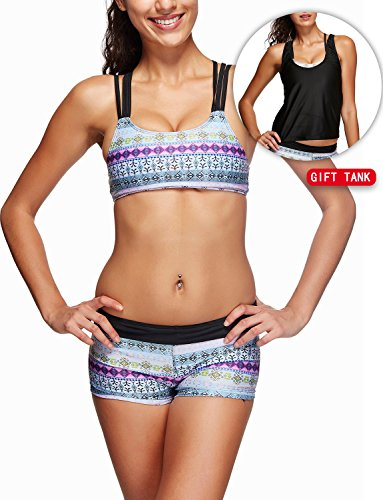 Zando Women 2 Or 3 Pieces Tribal Printed Tankini Swimsuit with Boyshort Double up Sporty Swimwear for Teens Black Grey White Floral XL (US Size 10-12)