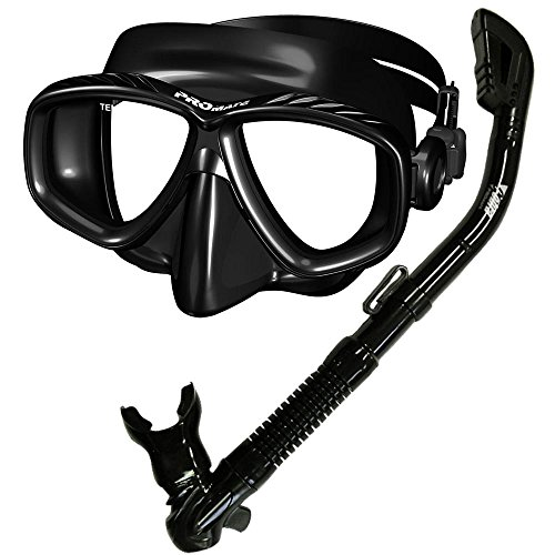 Promate Snorkel Dive Mask Set For Scuba Diving Snorkeling, All Black (Mask Dive Purge Valve)