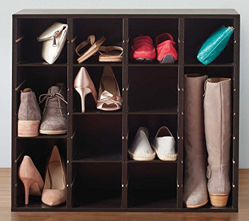 Closet Shoe Organizer Adjustable Customizable Storage Solution Space Saving Cabinet Cube for Shoes, Boots, Handbags and More Bundle Includes 2 in 1 Stylus Pen from Designer Home (Horizontal Stacker)