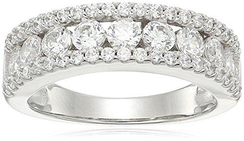 (Platinum-Plated sterling silver swarovski zirconia round three row ring, size 6)