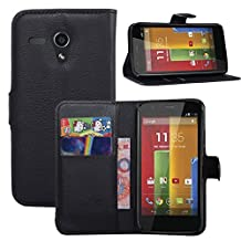 Moto G 1st Generation Case, Fettion Premium PU Leather Wallet Flip Phone Protective Case Cover with Card Slots for Motorola Moto G (1st Gen) Smartphone (Black)