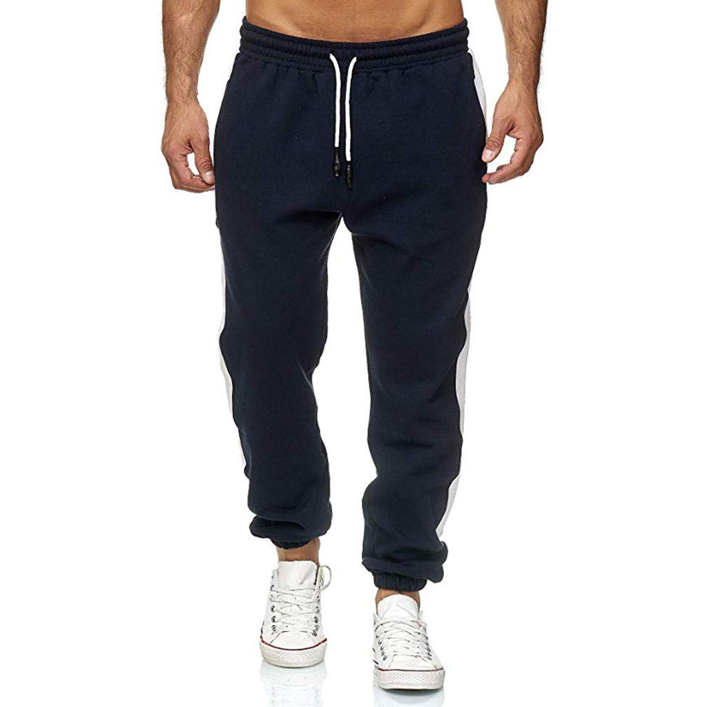 Men's Long Casual Sport Elastic Waist Pants Slim Fit Trousers Running Joggers Regular Sweatpants