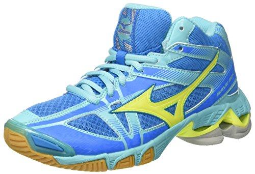 Mizuno Wave Bolt Mid Wos, Zapatos de Voleibol para Mujer Multicolor (Divablue/Safetyyellow/Blueradiance)