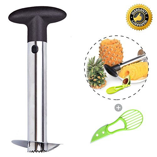 (Silver Stainless Steel Pineapple Corer Peeler Stem Remover Blades for Diced Fruit Rings All in One Pineapple Tool Peeler Slicer)