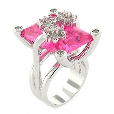 Amazoncom Stunning Flower Contemporary Pink Topaz Cz Ring Size 10