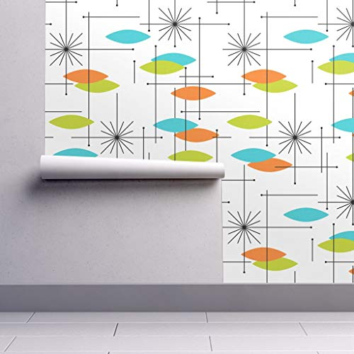 Removable Water-Activated Wallpaper - Orbs Geometric Mid Century Modern Blue Green Orange Orbs Small Orange Aqua by Tonyanewton - 12in x 24in Smooth Textured Water-Activated Wallpaper Test - Geometric Orange Wallpaper