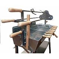 Spanferkelgrill silber XXL Edelstahl Turning Roaster Garten Balkon ✔ Lenkrollen mit Bremse ✔ eckig ✔ rollbar ✔ stehend grillen ✔ Grillen mit Holzkohle ✔ mit Rädern