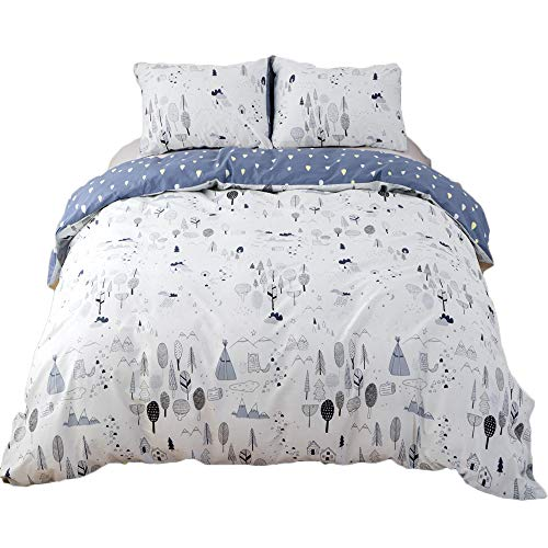 CLOTHKNOW Forest Duvet Cover Sets Twin for Boys Girls Kids Woods Tree Bedding Sets 100 Cotton Pack of 3 Floral Pattern - 1 Duvet Cover with Zipper Closure 2 Pillow Sham Soft Healthy NO Comforter