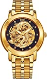 BOS Men's Mechanical Waterproof Business Skeleton Watch of Gold Hollowed Chinese Dragon-White 9007G
