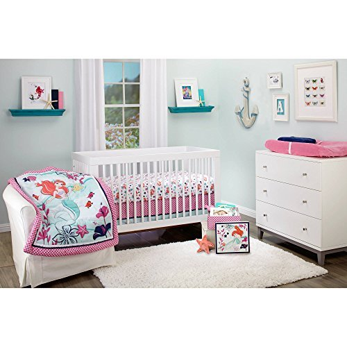 Disney Ariel Sea Treasures 4-Piece Crib Bedding Set W keepsake box - Little Mermaid