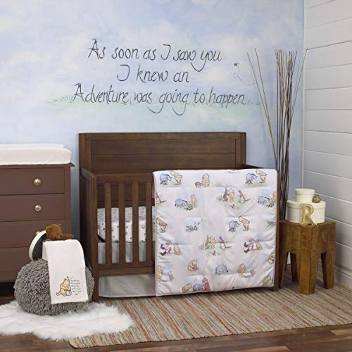 Disney Winnie The Pooh Classic Storybook 6 Piece Nursery Crib Bedding Set, Ivory/Light Blue/Sage/Tan ()