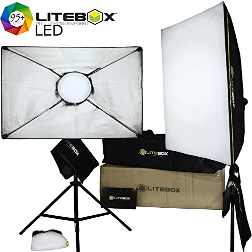 LITEBOX: LED Softbox Lighting Kit (NEW Rotatable Design) for photo studio makeup light & more - Includes pair of Professional Stands, Diffusers & Travel Bag! - 5500K Daylight