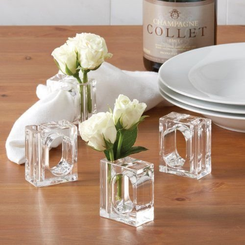 Napkin Rings Deco Mate Acrylic Bud Vase Flower Holder Clear Table