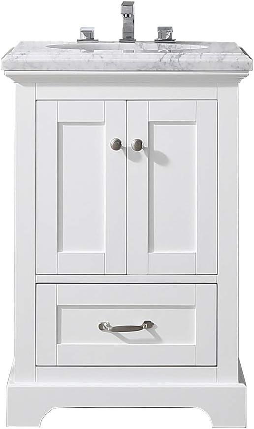 Amazon Com Eviva Houston 24 Inch White Bathroom Vanity With Double Ogee Edge White Carrara Countertop And Undermount Porcelain Sink Furniture Decor