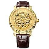 Jiusko 200LG0507 Men's Chinese Dragon Gold Diamond 20 Jewel Auto Mechanical Genuine Alligator Dress Watch, Brown Leather