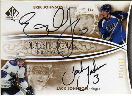 2007-08 SP Authentic Prestigious Pairings #PPJJ Erik Johnson Jack Johnson Autograph Card Serial #