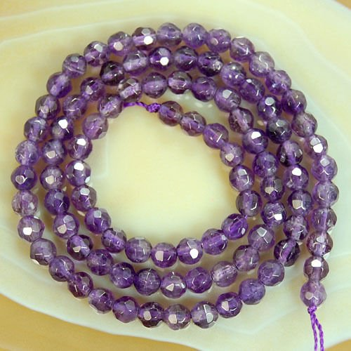 (Round Faceted Amethyst Gemstone Beads (4mm))