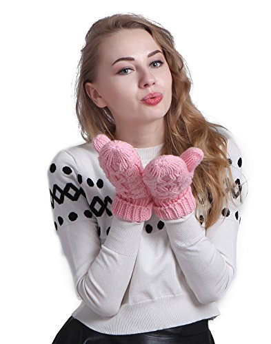 HDE Women's Winter Gloves Crochet Twist Cable Knit Hand Warmer Mittens
