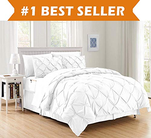 Luxury Best, Softest, Coziest 6-Piece Bed-in-a-Bag Comforter Set on Amazon! Elegant Comfort - Silky Soft Complete Set Includes Bed Sheet Set with Double Sided Storage Pockets, Twin/Twin XL, White